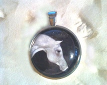 Midnight Prancer. White Arabian Horse Art Jewelry. 1 Inch Circle Bezel Sterling Silver Pendant. Jewelry. Year of the Horse. 2014