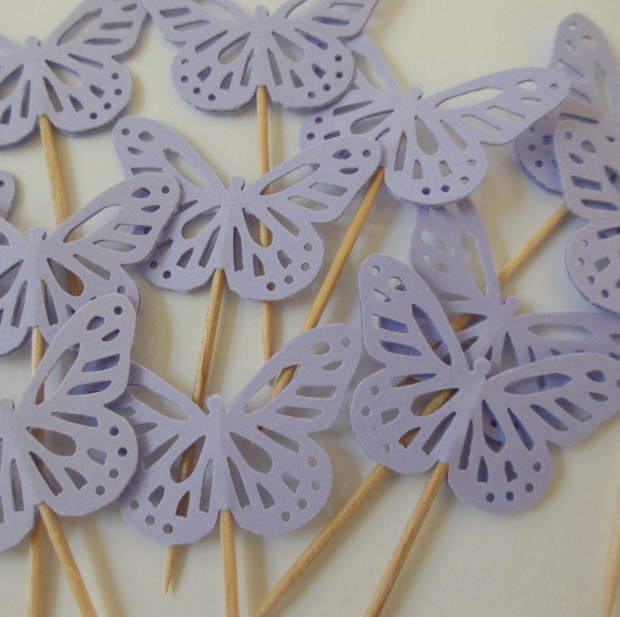 Butterfly Cake Toppers Baby Shower : Lilac Butterfly Cupcake Toppers Bridal Shower Decorations