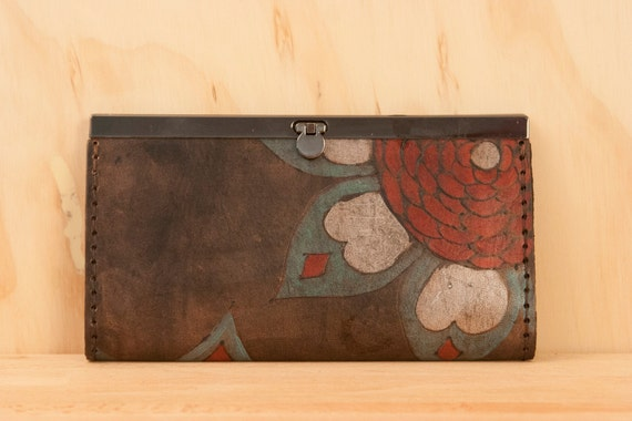 Leather Clutch Wallet - Jessa pattern in Aqua, Burgundy, Silver and antique black