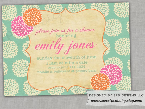 Baby Shower Invitation or Bridal Shower Invitation -- Spring Mums