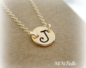 Personalized Initial Necklace. Monogram Necklace. Handstamp Letter Necklace. Gold Initial Necklace. Bridesmaids. Mother's Necklace
