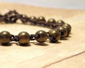 Brass Bead Bracelet, Crochet Beaded Bracelet, Stacking Jewelry, Boho Style Accessory,  Hippie Jewellery, Single Wrap Bracelet, Stackable