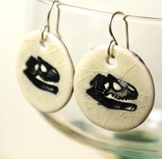 Dinosaur Ceramic Earrings in Cream Crackle