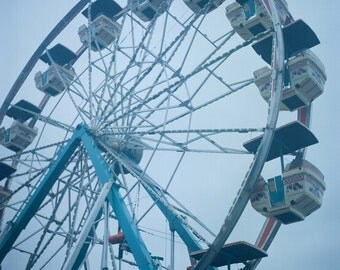 Ferris Wheel Midway Rides Carnival Red White and Blue Photograph
