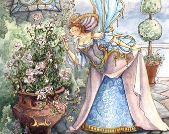 """Fairy in a Garden of Roses, 11x14"""" Print"""