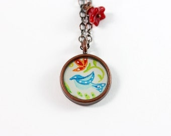 Little Blue Bird Painted Necklace
