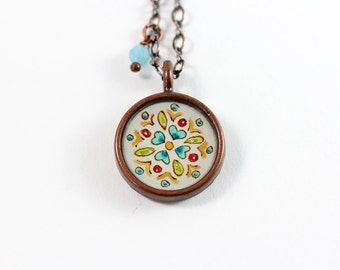 Little Folk Art Inspired Floral Pattern Hand Painted Necklace