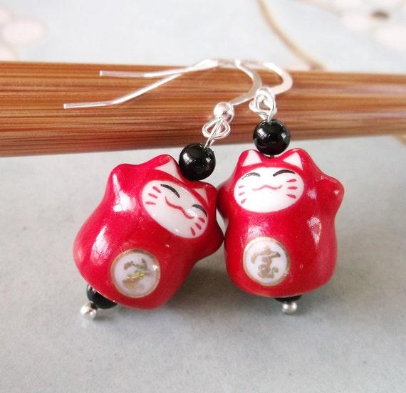 Japanese Maneki Neko Sterling Silver Earrings. Red Ninja Fortune Lucky Cats in Porcelain