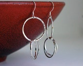 Sterling Silver  Earrings - Handmade Hammered Organic Circles - Recycled Metal - Everyday Earrings - Ready to ship