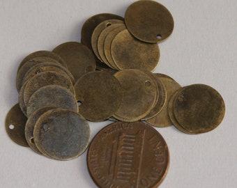 100 pcs of antique Brass coin disc 12mm