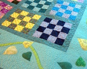 Twin/Double Quilt In Checks and Vines