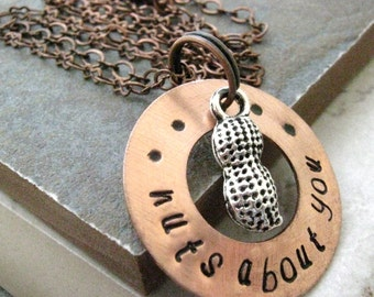 Nuts About You Necklace, hand stamped copper washer with silver peanut charm, please read listing