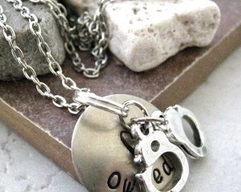 Owned Necklace, BDSM Necklace, Slave necklace, Subissive Necklace, nickel silver disc with silver plated chain, choose your own metal