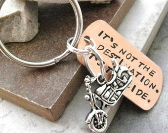 Motorcycle Keychain, Its not the destination, its the ride, motorcycle charm, bike charm also avail, optional initial disc, see pics