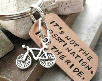 Bike Keychain, It's not the destination, its the ride, bike charm or motorcycle available, optional initial disc, bmx motorcross