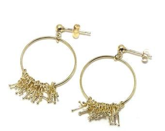 18ct yellow gold bud hoop earrings