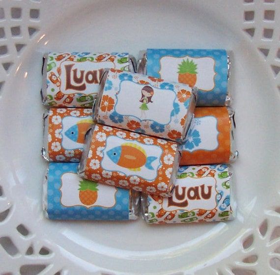 Printable Summer Luau Mini Candy Bar Wrappers