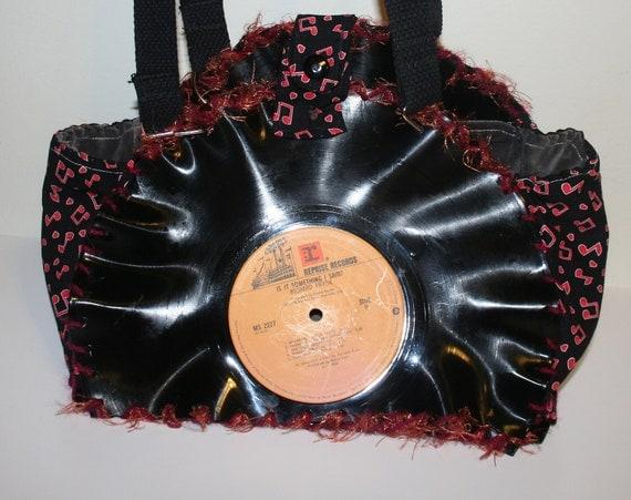 record purse - punk - retro