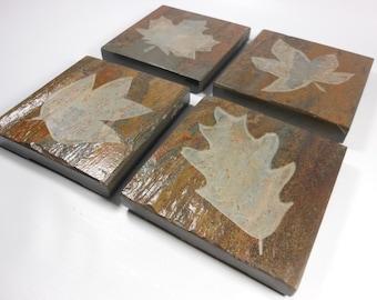 Stone Coasters Leaves Drink Coasters, 4 Carved Leaf Coasters - Quality Etched Slate Nature Botanical Coasters, Handmade Coasters for Drinks