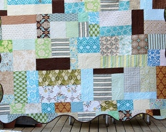 Twin or Throw Quilt With Wavy Edge.  Neutrals, Brown, Green, Blue, Beige and Aqua. Made to Order. Custom Also Avail. Professionally Quilted