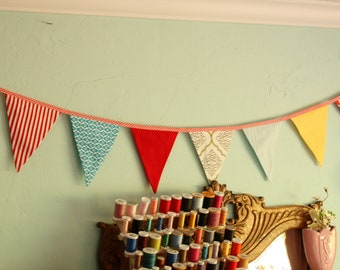 Carnival Themed Bunting, Ready to Ship Fabric Flag Birthday Party Banner,  Gender Neutral Banner, Photography Prop, Weddings, School Events