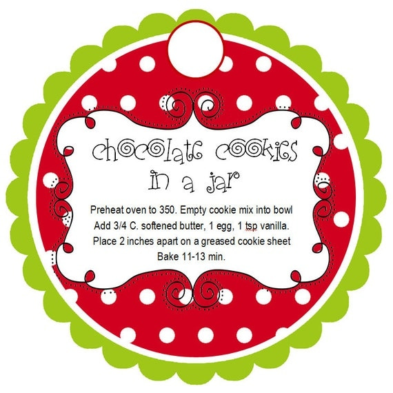 Items similar to Personalized Christmas Cookies in a Jar Tags ...