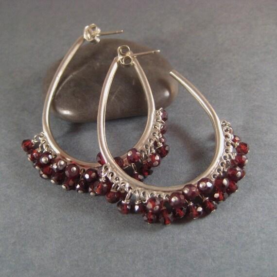 Gemstone Hoop Earrings, Faceted Garnet Sterling Silver Big Hoop Earrings