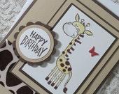 Happy Birthday Card - Giraffe