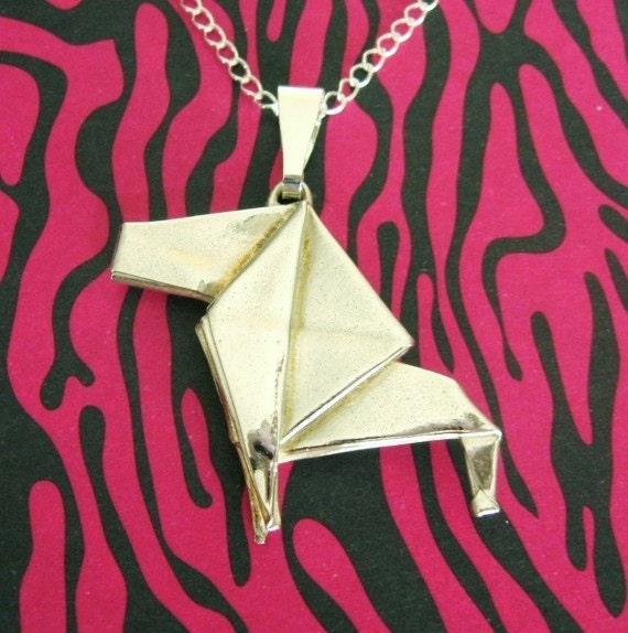 Silver Origami Lion Pendant
