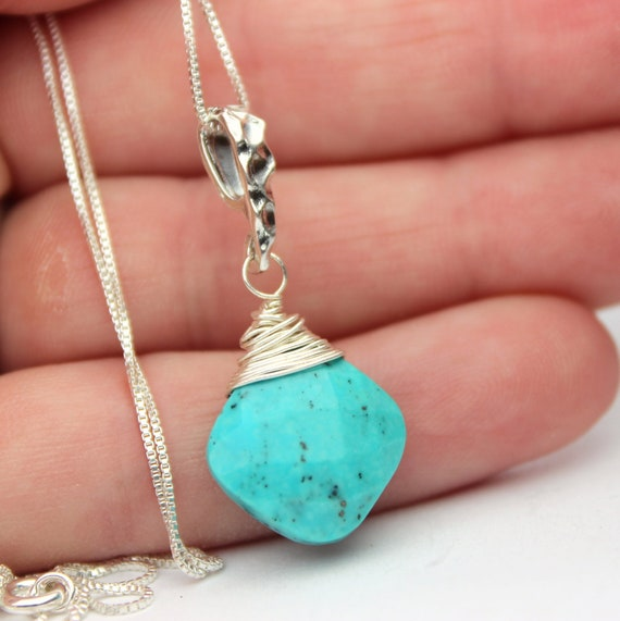 Sky blue turquoise necklace, birthstone pendant, sterling silver necklace, December birthstone, square gemstone.