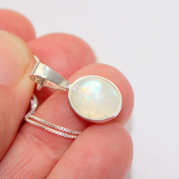 Rainbow moonstone sterling silver pendant necklace