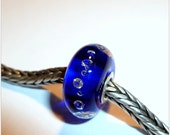 Luccicare Lampwork Bead - Cobalt Diamonds - Lined with Sterling Silver