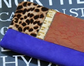 Leather clutch - Leopard, Damask, Sequins and leather -- zipper clutch  No. 101