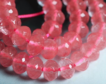 Cherry quartz faceted rondelle 8mm, 12 pcs (item ID L04QQFRN8)