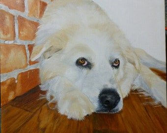 Memorial Pet Portrait Great Pyrenees Original Oil on Stretched Canvas Portraits 10 x 10 inch Made to Order by Pigatopia