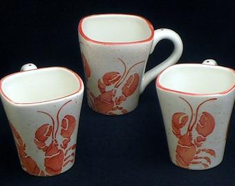 Mugs. Lobster Mugs. Sea. Maine. Coffee. 12 oz. Handmade by Sara Hunter Designs