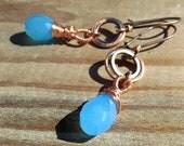 True Blue copper and stone earrings