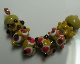 Set of eight handmade lampwork beads-handmade glass beads- loose beads SRA