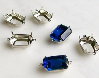 Jewelrymaking Supplies Silver Setting Blue Glass Emerald Cut Parts For Jewelry 6 Pcs