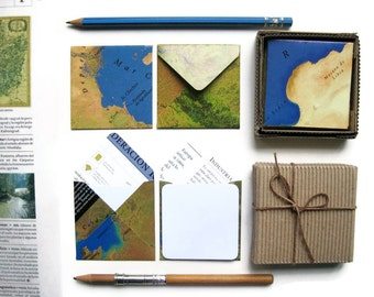 World Map Cute Handmade Stationery Set, Mini White Note Cards, Thank You, Blank, Greetings, Gifts Under 15, Square Envelopes, Map Envelopes