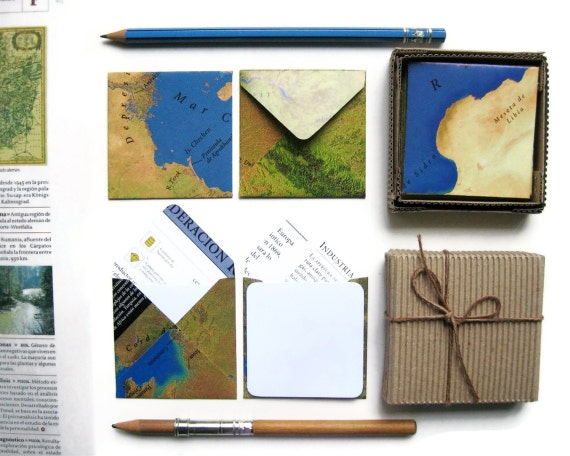 World Map Stationery Set, Note Card Set, Mini Cards, Cute Stationery, Thank You Card Set, Handmade Stationery, Blank Note Card Set