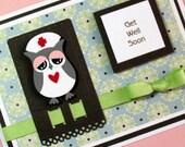 Get Well Card,  Handmade Greeting Card, Thinking of You Card, Nurse Owl Card, Handmade Greeting Card