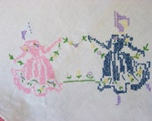 Linen Tablecloth Embroidery Crinoline Sunbonnet lady Crocheted Shell Edging