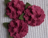 Two Inch Wool Felt Ruby Slipper Hydrangea