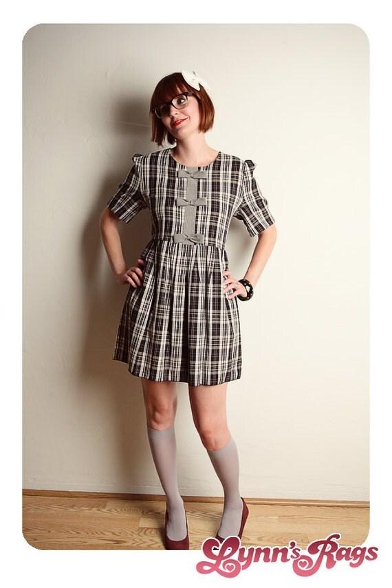 Black Gray Plaid BABY DOLL Dress Bow 90s vintage LARGE