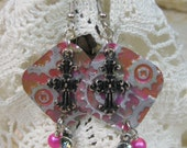 Bible Verse Inspired Hot Pink Steampunk Gear & Cross Charm Earrings