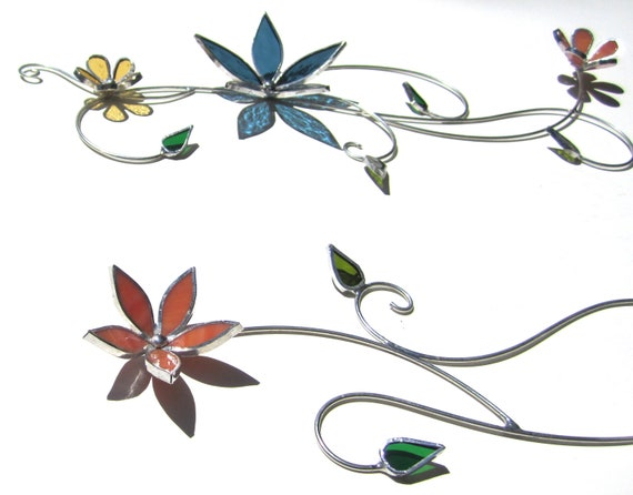 Floral Flourish - 3D Stained Glass Wall Accent - Colorful Home Decorative Flower Leaves Leaf Wire Wall Hanging (RESERVED for Jude)