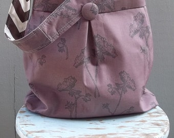 Plum Queen Anns Lace Tote - Chevron - Reversible - 3 pockets - Key Fob