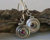 Silver Poppy Flower Earrings made with Recycled Silver Garnet Bezel Set