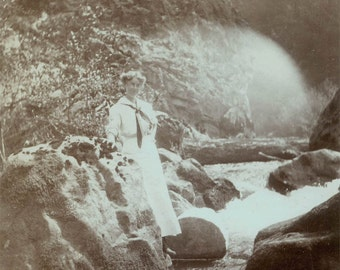 Vintage photo Woman down by the Rivers Edge Sailor outfit